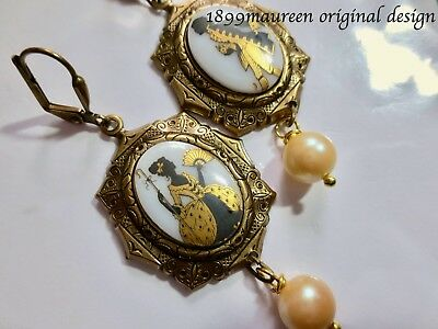 Art Nouveau Art Deco earrings Victorian style vintage cameo Georgian romance