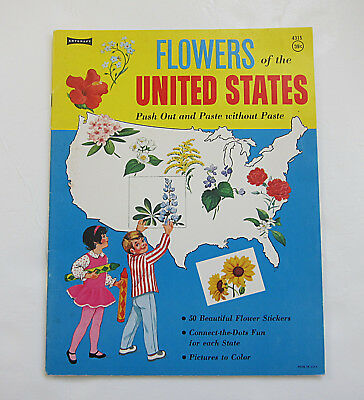 VTG 1975 COLORING STICKER BOOK Flowers of the United States Artcraft UNUSED