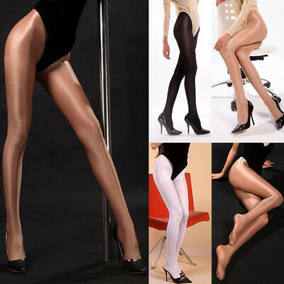 Womens Sexy 50D Oil Shiny Shimmer Glossy Shape Body Pantyhose Stocking Tights UK