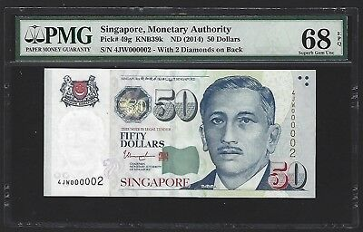 2014 Singapore $50 Dollars PMG 68 EPQ GEM UNC, 2nd FINEST, S/N 000002! Very Rare