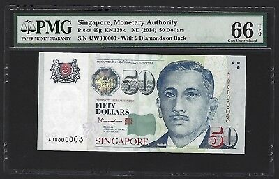 2014 Singapore $50 Dollars PMG 66 EPQ GEM UNC, LOW S/N 000003! Very Rare. P-49g