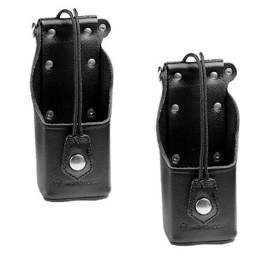 Lot of 2x Motorola NTN8037B Leather Carry Case with Belt Clip Holder ~ New!