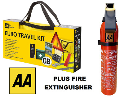 AA Car Euro Travel Kit - Required If Driving Abroad & AA Fire Extinguisher
