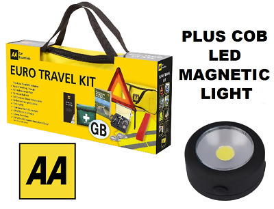 AA Car Euro Travel Kit - Required If Driving Abroad & Free COB LED Mag Light