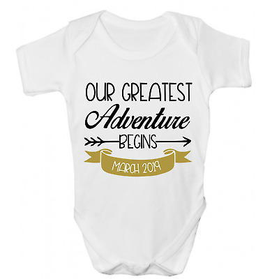 Our Greatest Adventure Begins Pregnancy Baby Announcement Baby Grow Body Vest