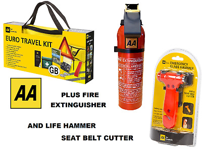 AA Car Euro Travel Kit For Driving Abroad & AA Fire Extinguisher & Life Hammer