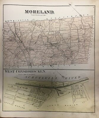 Orig 1871 Montgomery County Pa Moreland West Conshohocken Willow Grove Atlas Map