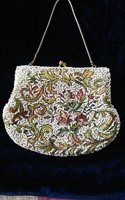 Ivory Embroided Beaded Evening Bag-Vintage