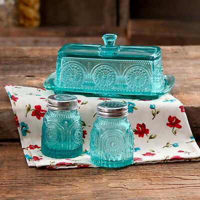 Salt And Pepper Shaker Set with Butter Dish Glass Adeline Turquoise Teal Color