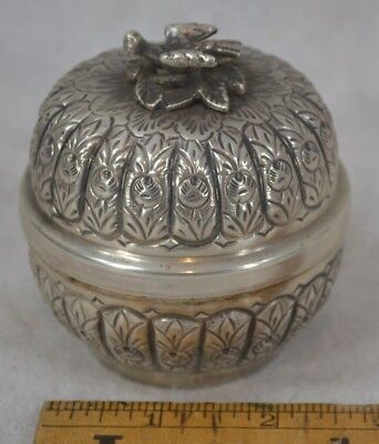 antique sterling silver bowl round dome repousse covered bird finial hall mark