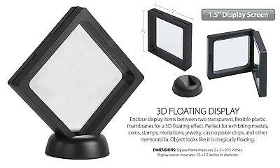 "3D Floating Coin Display Frame Holder Box Case Black w/ Stand (1.5"") - Set of 2"