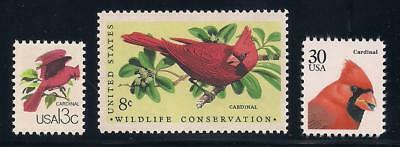 Cardinals - Set Of 3 U.s. Postage Stamps- Mint Condition