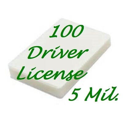 100 Driver License Size 5 Mil Laminating Pouches Laminator Sheets 2-3/8 x 3-5/8