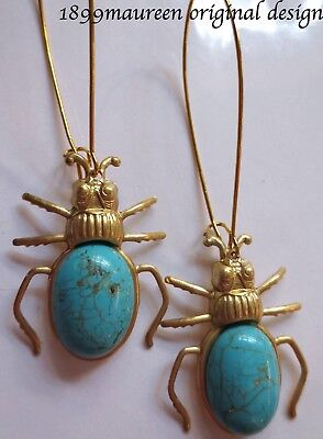 Egyptian Revival Art Deco earrings turquoise scarab Art Nouveau vintage style