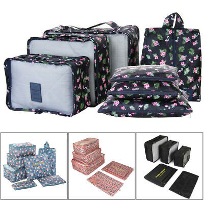 7Pcs/Set Packing Cubes Travel Zipper Clothes Storage Bag Luggage Neat Packer USA