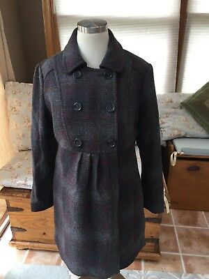 A Pea in the Pod Maternity Coat Gray Purple Plaid Small Excellent