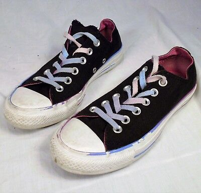 87fc3269f4a1 Converse All Star Shoes Youth Girl Size 7 Double Tongue Black Pink Sneakers