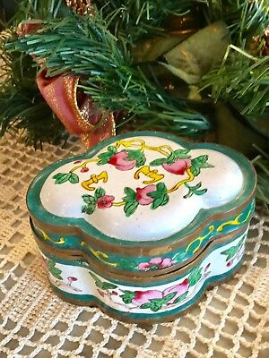 Vintage Chinese Enamel On Copper Trinket Box in Cloisonne  Canton Style