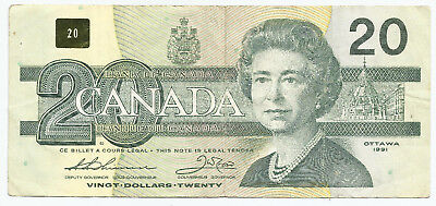 """AIS 8218128 """"Fancy Serial Number"""" Canada 1991 $20 Bill Note"""