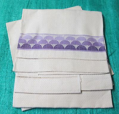 Antique 2 Nubby Linen Towels Variegated Purple Half Moons Hemstitched Never Used