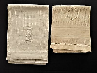 LOT antique 2 linen HAND TOWELS berwyn pa DOWNING FAMILY monogram d