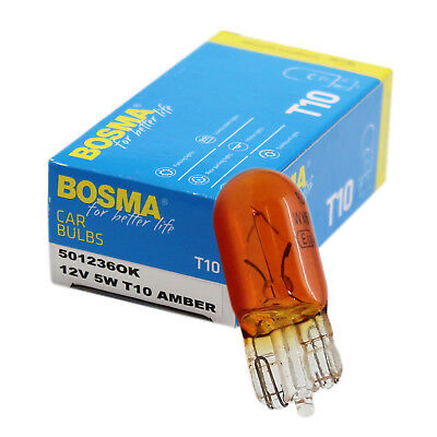 10 x Lamp Bosma T10 W5W 12V 5W Orange Wedge Base Premium e-certified