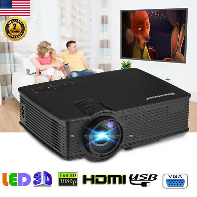 Excelvan 96+ 1080P HD Home Theater Cinema 3D LED Projector 5000 Lumens HDMI VGA