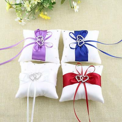 Bridal Popular Wedding Bowknot Basket Double Heart Ring Bearer Pillow Cushion