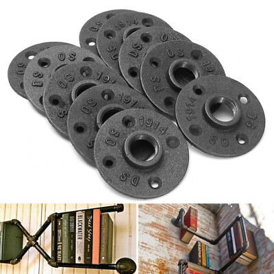 Black Cast Iron Flanged Base DN25 1'' Threaded Floor Pipe Fittings Wall Mount
