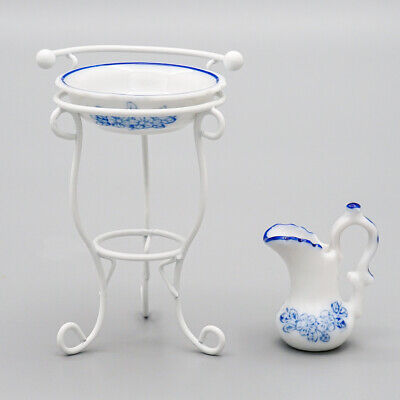 1/12 Miniature 3pcs Ceramic Wash Basin Pitcher Metal White Stand Set Dollhouse