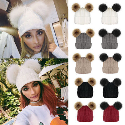 Mom Baby Boys Girls Knitted Beanie Bobble Hat Double Faux Fur Pompom Winter New