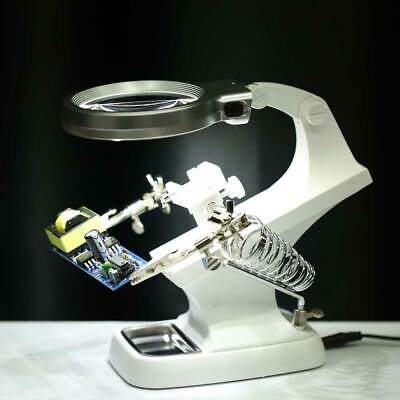 Helping Hand Welding Magnifying Glass Soldering Iron Stand Holder Station 10 LED