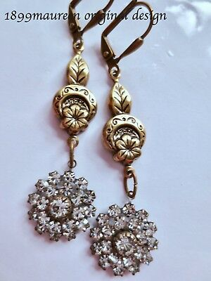 Art Deco Art Nouveau earrings 1920s vintage style earrings crystal drop