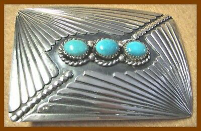 Turquoise Set In Navajo Signed Sterling Silver Feathers Belt Buckle - A Beauty