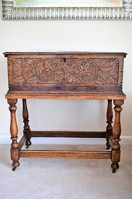 Antique Oak Bible Box/ Small coffer complete with later stand