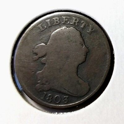 1803 Draped Bust Half Cent - VG strong date - low mintage