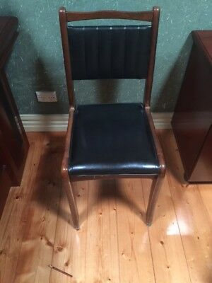4 x Black Leather and timber dining kitchen chairs