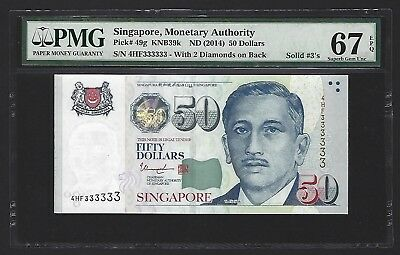 2014 Singapore $50 Dollars PMG 67 EPQ GEM UNC, S/N SOLID 333333, Very Rare P-49g