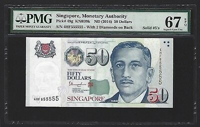 2014 Singapore $50 Dollars PMG 67 EPQ GEM UNC, S/N SOLID 555555, Very Rare P-49g