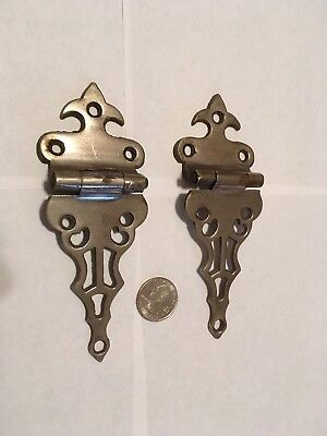 Vintage Victorian Antique Pair Chrome Strap Offset Ice Box Hinges Ornate