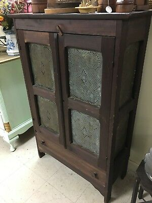 Antique Pie Safe Cabinet Cupboard 8 Punched Tins