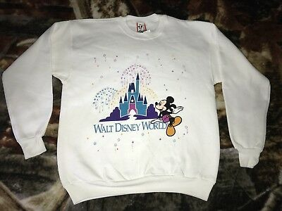Vintage 90s WALT DISNEY WORLD Sweatshirt Large Disneyland Theme Park 50/50 W:22""