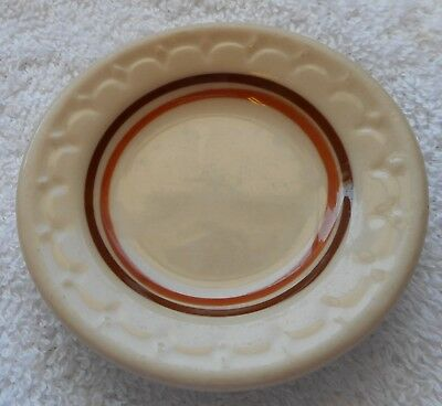 Old Vintage Restaurant Ware Butter Pat brown and tan Bands Decorative Tableware