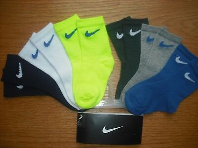 Toddler Boys NWT NIKE Crew Socks 6prs Neon Yellow Gray Blue NEW COLORS Sz:3T-4T
