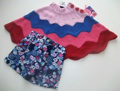 NWT CHILDREN'S PLACE TCP FUNKY Knit Shawl & Floral Skirt Blue & Pink 24 mo RETRO