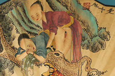 Vintage Handmade Paper Painting Qing Dynasty Word Statue Decoration Fan