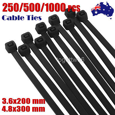 1000/500/250  Bulk Cable Ties Zip Ties Black (4.8mm x 300mm) Nylon UV Stabilised