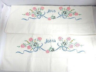 Pair of Vintage Hand Embroidered Pillowcases-His & Hers Pink Clover