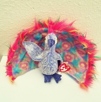 TY Flashy The Peacock Plush Beanie Baby Bean Bag Beanies 2000 Tag FREE SHIP