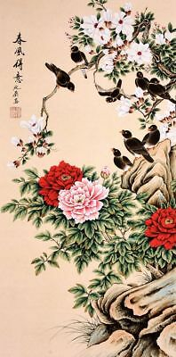 ORIGINAL ASIAN ART CHINESE FAMOUS WATERCOLOR PAINTING-Peony flower&bird lover